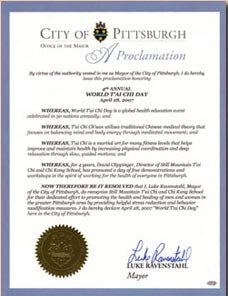 World T'ai Chi Day Proclamation